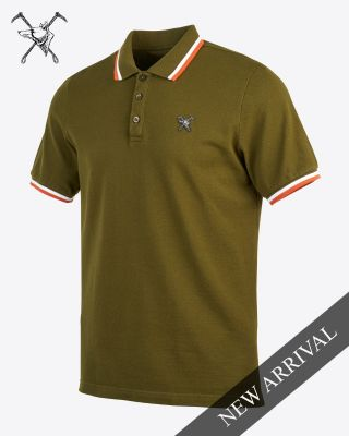 Fox & Crop Mens Olive Polo