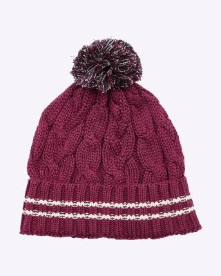 Fox & Crop Womens Bobble Hat Burgundy