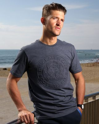 LCFC Mens Navy Embossed Crest Tee
